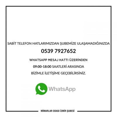 Mimarlar Odası İzmir Şubesi Whatsapp Mesaj Hattı